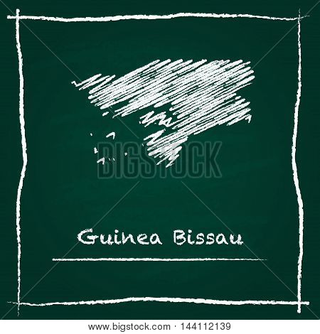 Guinea-bissau Outline Vector Map Hand Drawn With Chalk On A Green Blackboard. Chalkboard Scribble In