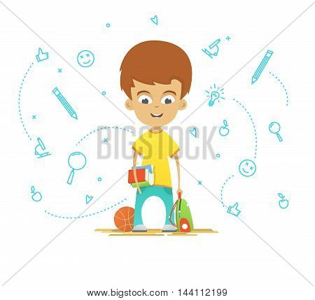 Character design. Happy schoolboy with a briefcase back to school. School icons on the background