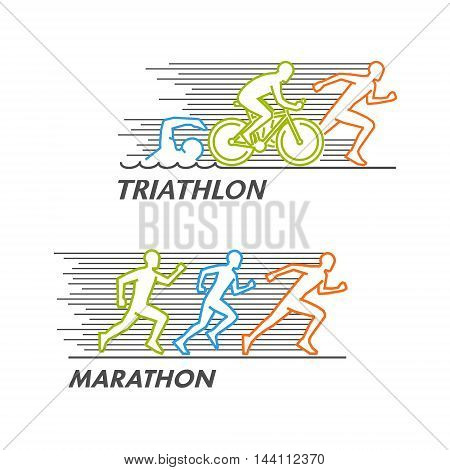 Line silhouettes of runners and triathletes. Vector marathon and triathlon logo.