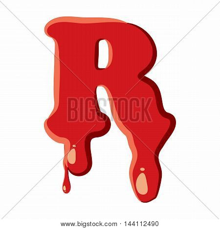R letter isolated on white background. Red bloody R letter vector illustration