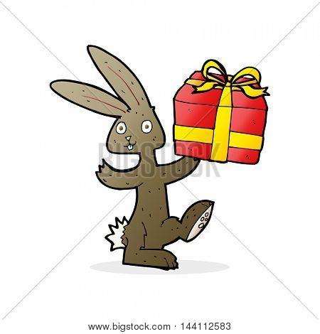 cartoon rabbit with christmas present