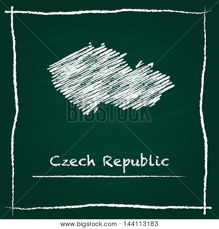 Czech Republic Outline Vector Map Hand Drawn With Chalk On A Green Blackboard. Chalkboard Scribble I