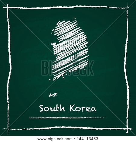 Korea, Republic Of Outline Vector Map Hand Drawn With Chalk On A Green Blackboard. Chalkboard Scribb