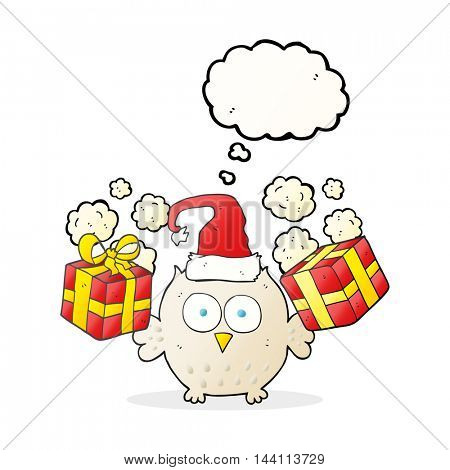 freehand drawn thought bubble cartoon christmas owl