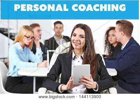 Personal coaching concept. Business woman in conference room at the meeting