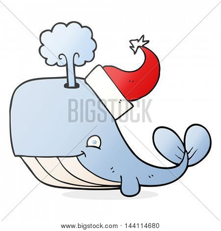 freehand drawn cartoon whale wearing christmas hat