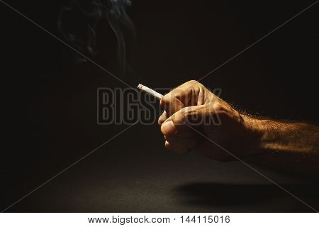 Male Hand Holding A Cigar
