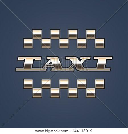 Taxi cab vector logo. Car hire black and gold background badge app emblem. Pixel car and taxi sign graphic design element