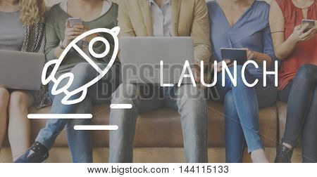 Launch Startup Business Success Release Concept