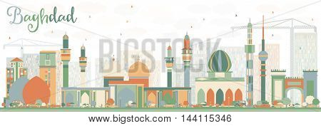 Abstract Baghdad Skyline with Color Buildings. Vector Illustration. Business Travel and Tourism Concept with Historic Buildings. Image for Presentation Banner Placard and Web Site.