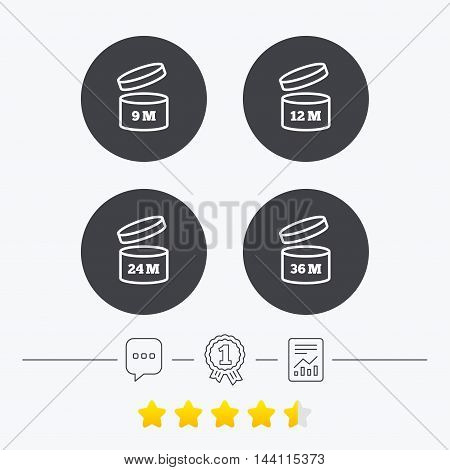 After opening use icons. Expiration date 9-36 months of product signs symbols. Shelf life of grocery item. Chat, award medal and report linear icons. Star vote ranking. Vector