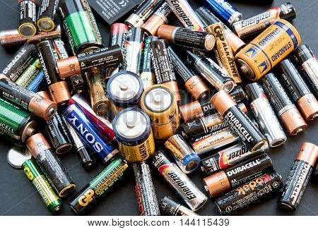 Nicosia Cyprus - August 21 2016: Group of used disposable drain batteries of various size and brands ready for recycling.