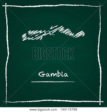 Gambia Outline Vector Map Hand Drawn With Chalk On A Green Blackboard. Chalkboard Scribble In Childi