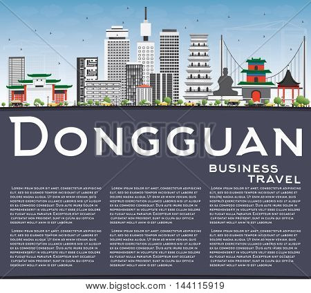 Dongguan Skyline with Gray Buildings, Blue Sky and Copy Space. Vector Illustration. Business Travel and Tourism Concept with Modern Buildings. Image for Presentation Banner Placard and Web Site.