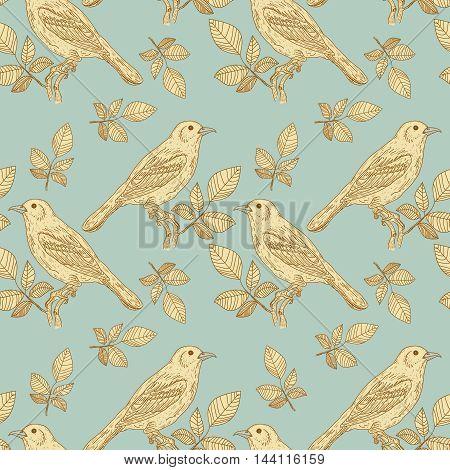 Birds vintage seamless pattern vector forest birds