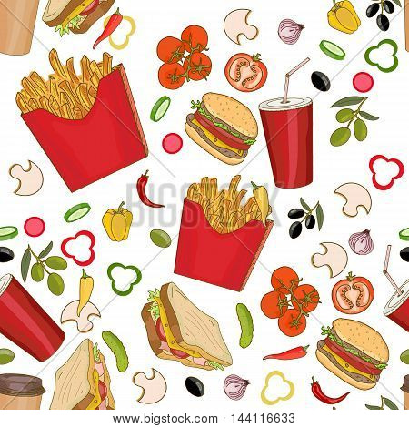 Fast food seamless pattern fast food seamless background hand drawn vector
