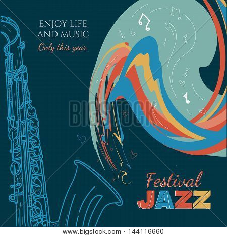 Jazz music cover saxophone live Jazz music hand drawn vintage vector illustration