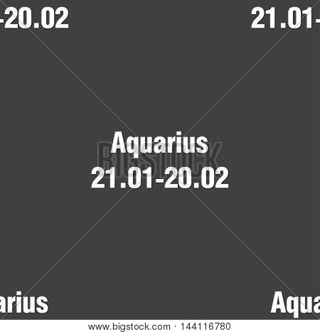 Aquarius Sign. Seamless Pattern On A Gray Background. Vector