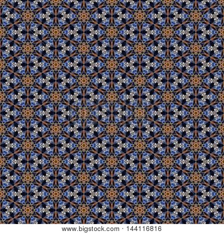 Beautiful seamless tileable repeat pattern created from kaleidoscope image of blue and white china creating a vintage tile look