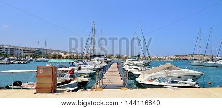 RETHYMNO GREECE - 08.03.2016: modern harbour with boats panorama view