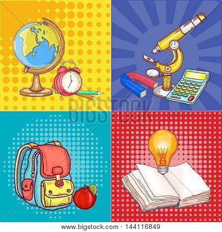 Education pop art school globe microscope open book back to school concept vector illustration