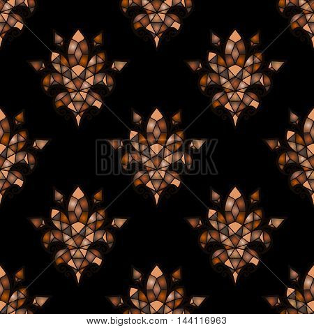 Vector brown hues mosaic background. Color tile texture seamless ornament