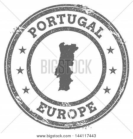 Portugal Grunge Rubber Stamp Map And Text. Round Textured Country Stamp With Map Outline. Vector Ill