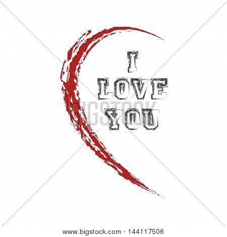 half heart with word  I love you - vector