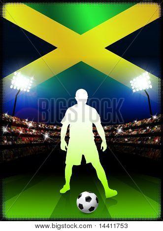 Jamaican Soccer Player with Flag on Stadium Background Original Illustration