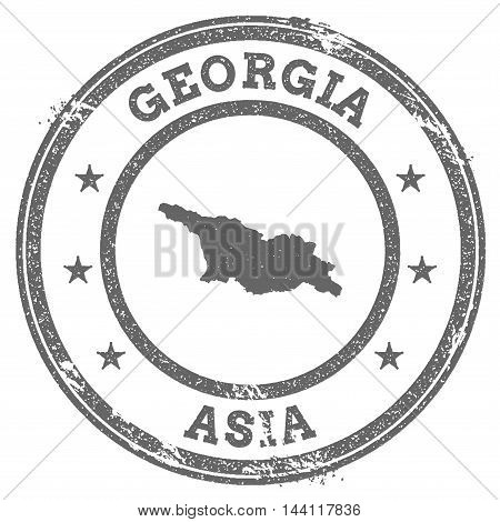 Georgia Grunge Rubber Stamp Map And Text. Round Textured Country Stamp With Map Outline. Vector Illu