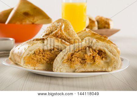 Brazilian Snack. Chicken Esfiha On The Table