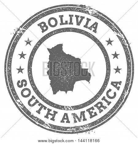 Bolivia Grunge Rubber Stamp Map And Text. Round Textured Country Stamp With Map Outline. Vector Illu