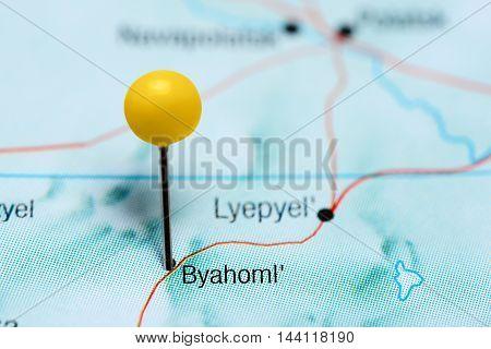 Byahoml pinned on a map of Belarus