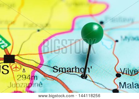 Smarhon pinned on a map of Belarus