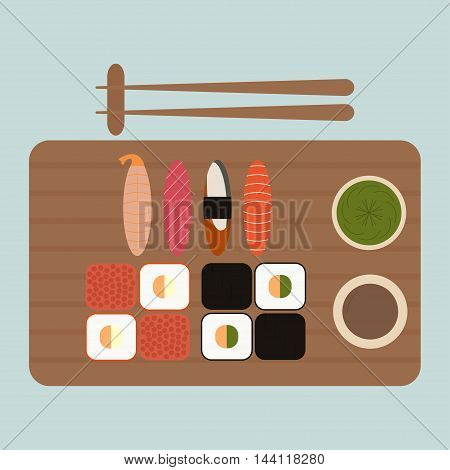 Sushi and rolls set isolated on blue background Japanese food set Seafood vector icons