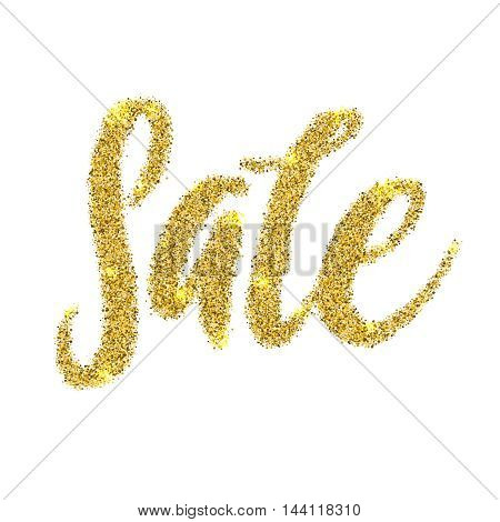 Sale Golden Glitter Text Poster. Language Gold sale background for flyer, poster, shopping, for sale sign, discount, marketing, selling, banner. Gold sparkles on black background. Burst Effect