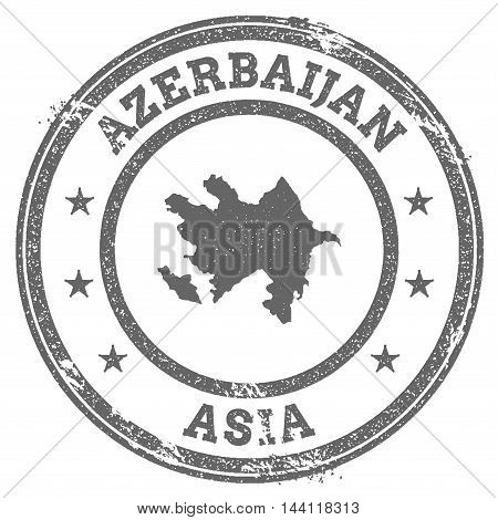 Azerbaijan Grunge Rubber Stamp Map And Text. Round Textured Country Stamp With Map Outline. Vector I