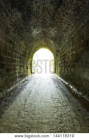 Inside a former railroad tunnel turned bike trail.