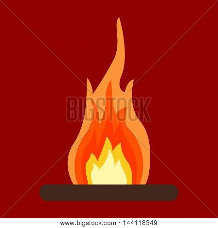 Red Fire icon isolated on background flat blazing flame sign. Business, internet concept - vector