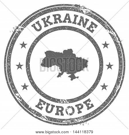Ukraine Grunge Rubber Stamp Map And Text. Round Textured Country Stamp With Map Outline. Vector Illu