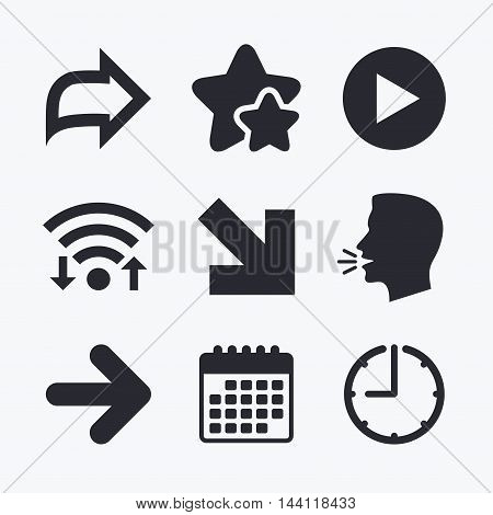 Arrow icons. Next navigation arrowhead signs. Direction symbols. Wifi internet, favorite stars, calendar and clock. Talking head. Vector