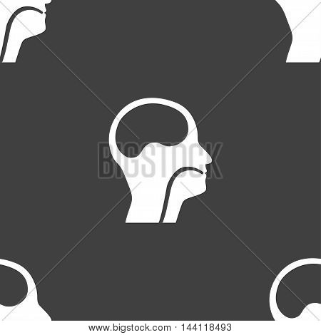 Larynx, Medical Doctors Otolaryngology Sign. Seamless Pattern On A Gray Background. Vector