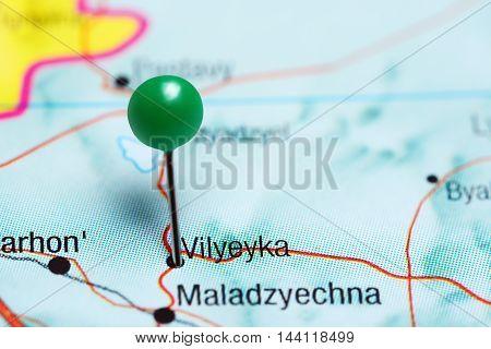 Vilyeyka pinned on a map of Belarus