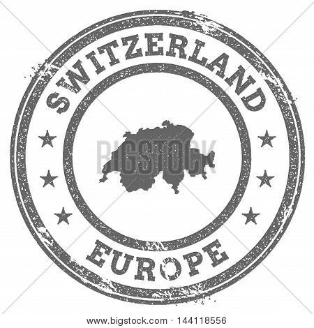 Switzerland Grunge Rubber Stamp Map And Text. Round Textured Country Stamp With Map Outline. Vector