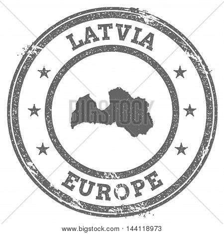 Latvia Grunge Rubber Stamp Map And Text. Round Textured Country Stamp With Map Outline. Vector Illus