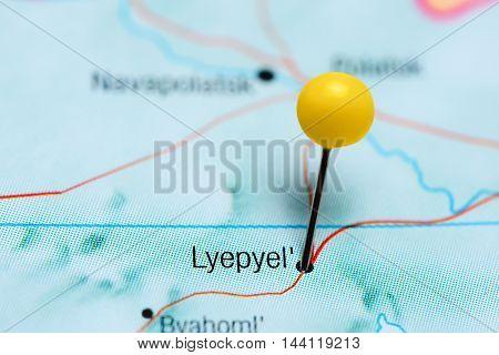 Lyepyel pinned on a map of Belarus