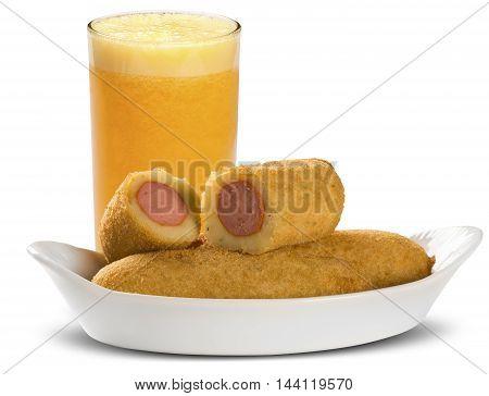 Sausage Fried Snacks. Brazilian Snacks On White Backgroung.