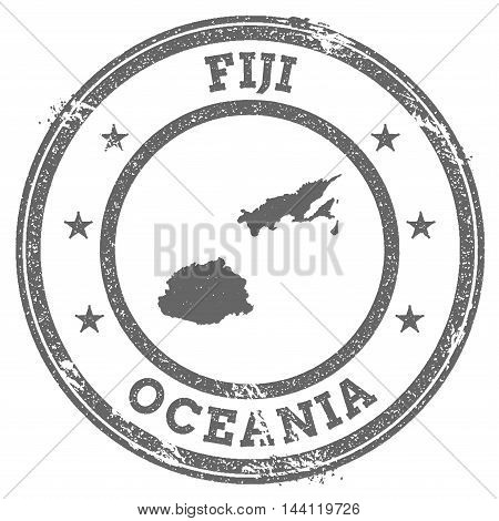 Fiji Grunge Rubber Stamp Map And Text. Round Textured Country Stamp With Map Outline. Vector Illustr