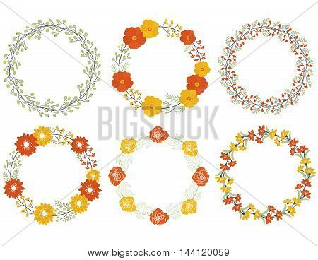 Vector autumn fall floral wreath set with leaves, berries and flowers