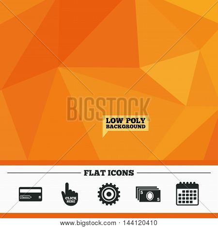 Triangular low poly orange background. ATM cash machine withdrawal icons. Insert bank card, click here and check PIN, processing and get cash symbols. Calendar flat icon. Vector